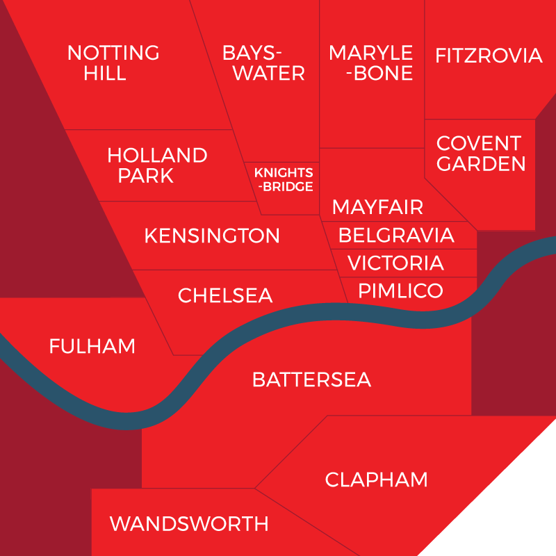 Cliff Gardiner Property Finders London | Areas We Cover | Map